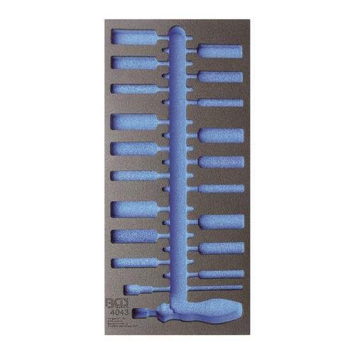 1/3 Werkstattwageneinlage (408x189x32 mm), leer, für Bürsten-Sortiment, 20-tlg.