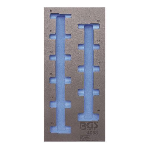 1/3 Werkstattwageneinlage (408x189x32 mm), leer, für Steckschlüssel-Einsätze  10 (3/8), 6-Kant, tief, 8-19 mm