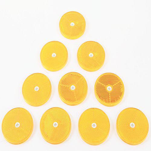 10 x Reflektor Rückstrahler Katzenauge selbstklebend Ø 60mm gelb