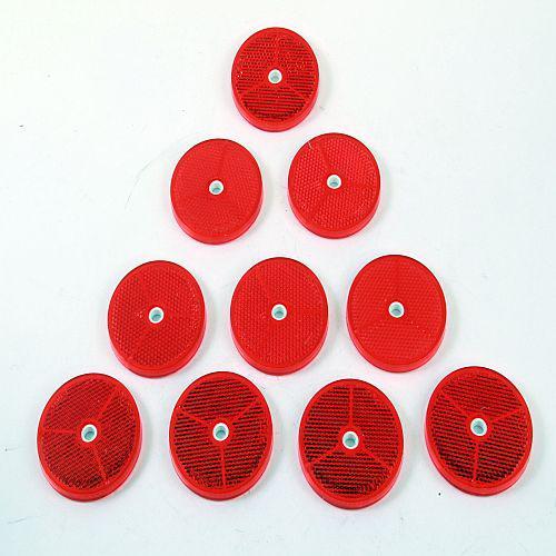 10 x Reflektor Rückstrahler Katzenauge selbstklebend Ø 60mm rot
