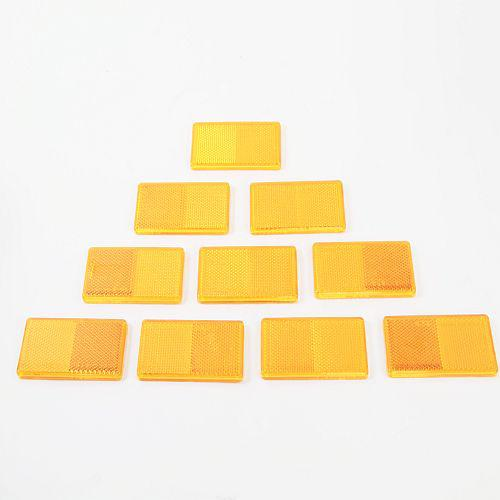 10 x Reflektor Rückstrahler Katzenauge selbstklebend 95x44mm gelb