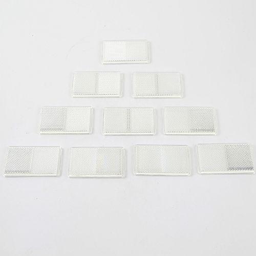 10 x Reflektor Rückstrahler Katzenauge selbstklebend 95x44mm weiß