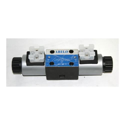 4/3 Wegeventil NG06 - 12 VDC - Nullstellung: P zu T verbunden und A und B gesperrt - DIN Stecker