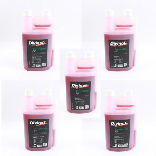 5 x 1 Liter DIVINOL 2-Takt Öl Zweitaktöl Dosierflasche Motorsäge Mischöl