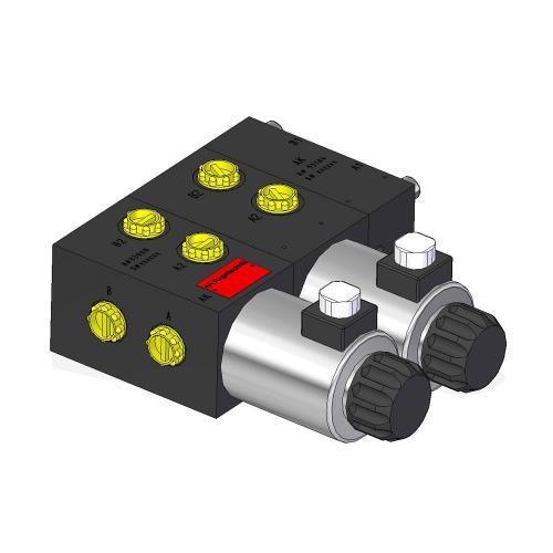 8/3 Wegeventil - TL - Blockausführung - 12 VDC - Ausführung links - Anschlussgewinde M18 x 1,5 - Q max 70 l/min - mit Schockabsorber 250 bar
