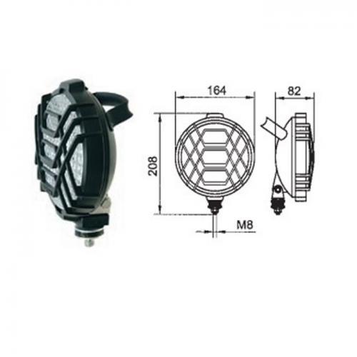 Arbeitsscheinwerfer, 12V/24V, vergittert, H3, 12V, 24V, Handgriff, Durchmesser 130mm
