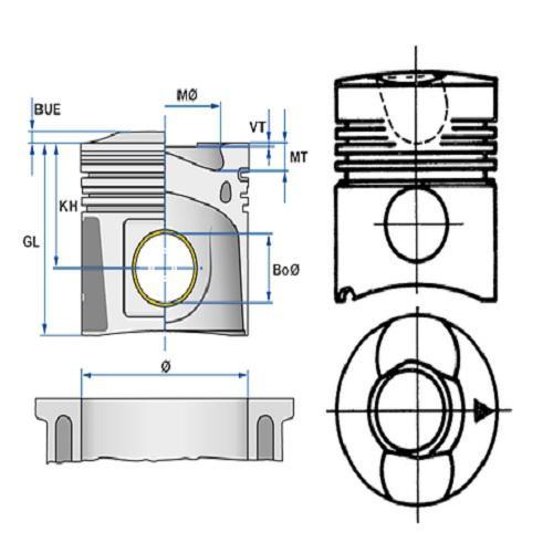 Kolben Büchse Deutz F2L912 Nüral Kolben 3-Ring F6L912 Goetze Ø100mm