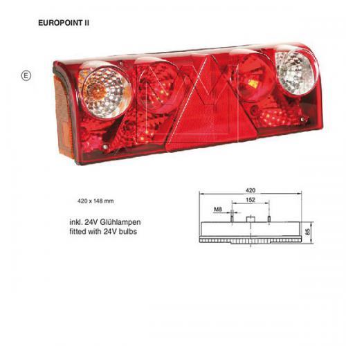 Europoint II links inkl. Leuchtmittel Kammerleuchte Trailer Schmitz Rückleuchte