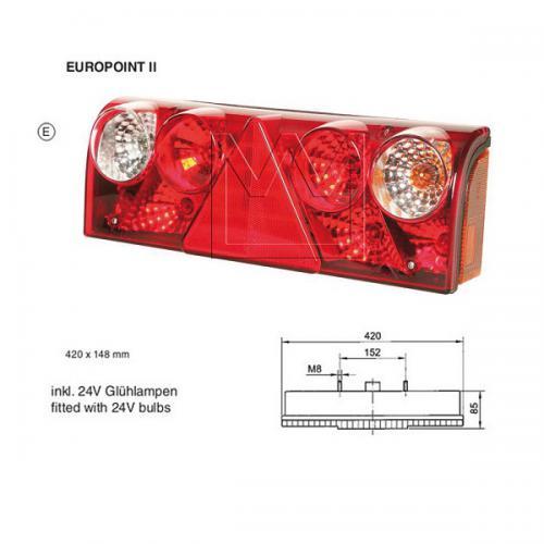 Europoint II rechts inkl. Leuchtmittel Kammerleuchte Trailer Schmitz Rückleuchte