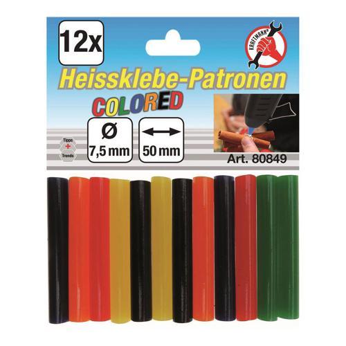 Heißklebe-Patronen bunt 7,5 mm, 12-tlg.