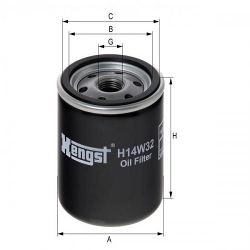 Hengst Ölfilter H14W32 passend  u.a. B&S ersetzt H90W30