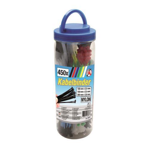 Kabelbinder-Sortiment, farbig, 450-tlg.