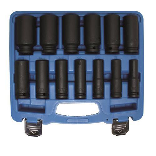 Kraft-Steckschlüssel-Einsätze , tief, ZOLL-Größen 7/16 - 1 1/4, 12,5 (1/2), 13-tlg.
