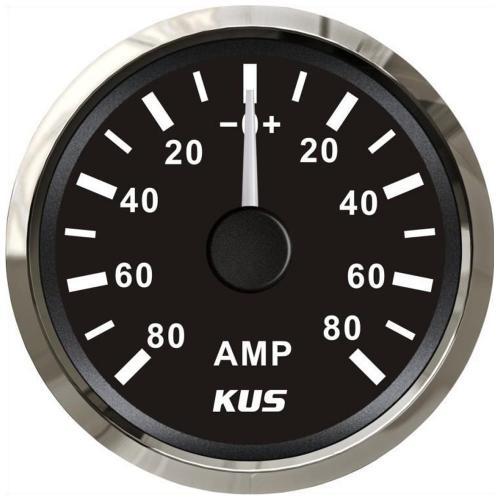 KUS Amperemeter 80A inkl.Messwiderstand Edelstahl schwarz