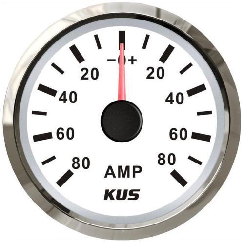 KUS Amperemeter 80A inkl.Messwiderstand Edelstahl weiß