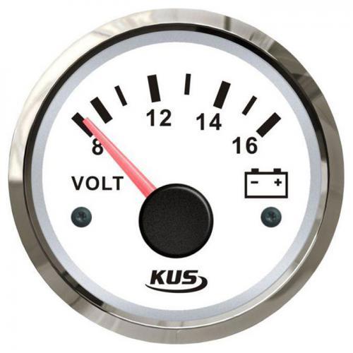 KUS Batterie Voltmeter Batterieanzeige Ladekontrollanzeige 12Volt Edelstahl - weiss
