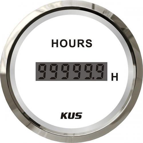KUS digitaler Stundenzähler 52er Armatur 6-stellig Edelstahl weiß