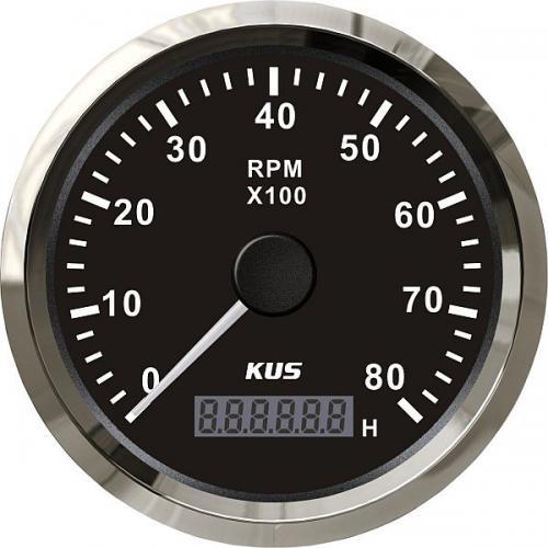 KUS Drehzahlmesser Betriebsstundenzähler 8000RPM Edelstahlrand Boot 12/24Volt - schwarz