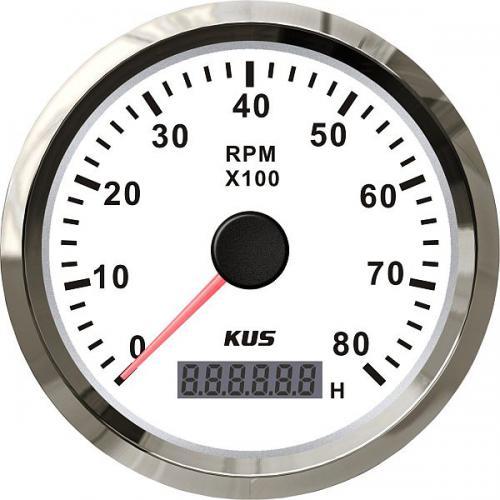 KUS Drehzahlmesser Betriebsstundenzähler 8000RPM Edelstahlrand Boot 12/24Volt - weiß