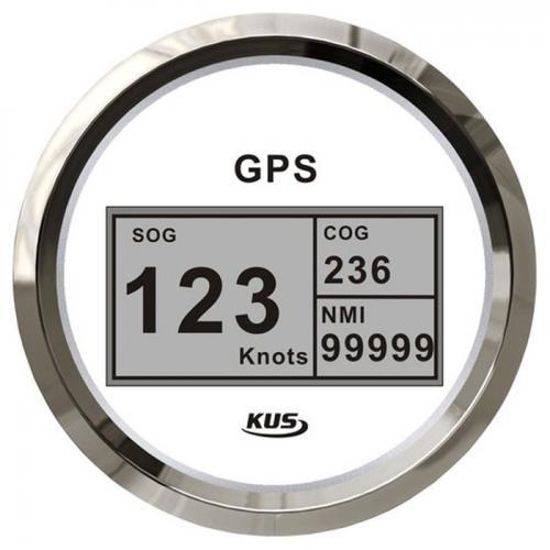 KUS GPS Digital Geschwindigkeitsmesser Speedometer Tachometer 85mm SOG COG - weiss