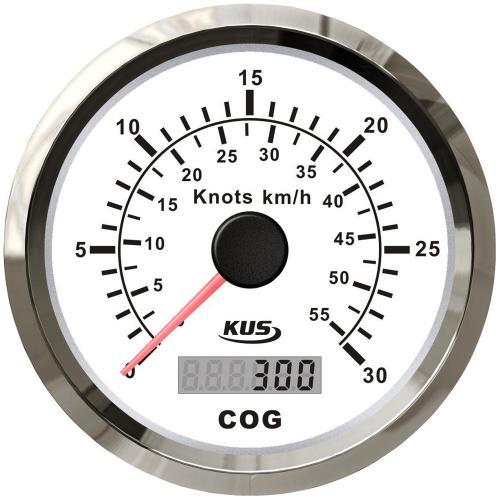 KUS GPS Geschwindigkeitsmesser Speedometer 30kn 55km/h digitalem Kompass - weiss
