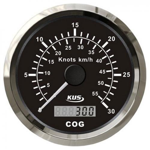 KUS GPS Geschwindigkeitsmesser Speedometer 30kn 55km/h mit digitalem Kompass - schwarz