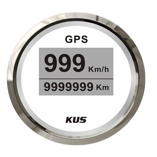 KUS GPS Tachometer 0-999 km/h Edelstahllünette in ansprechender Optik - weiss