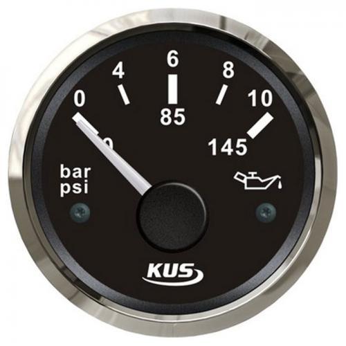 KUS Öldruckanzeige Öldruckmesser 12/24Volt 0-10bar 10-184Ohm Edelstahl - schwarz
