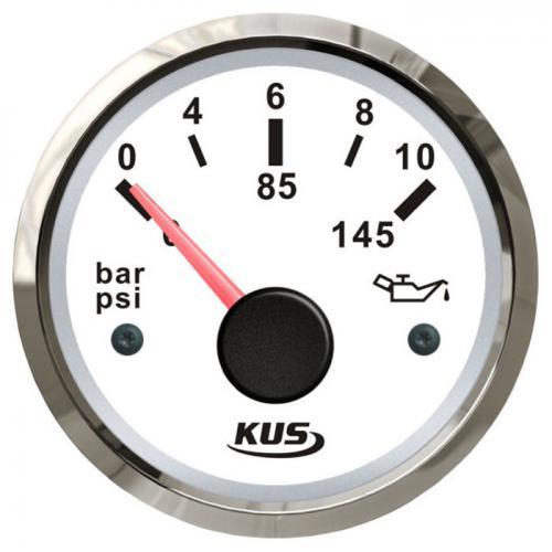 KUS Öldruckanzeige Öldruckmesser 12/24Volt 0-10bar 10-184Ohm Edelstahl - weiss