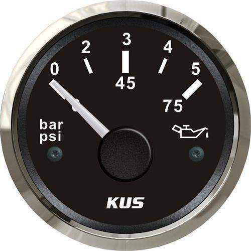 KUS Öldruckanzeige Öldruckmesser 12/24Volt 0-5bar 10-184Ohm Edelstahl-schwarz