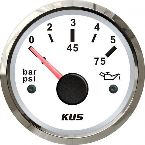 KUS Öldruckanzeige Öldruckmesser 12/24Volt 0-5bar 10-184Ohm Edelstahl-weiss