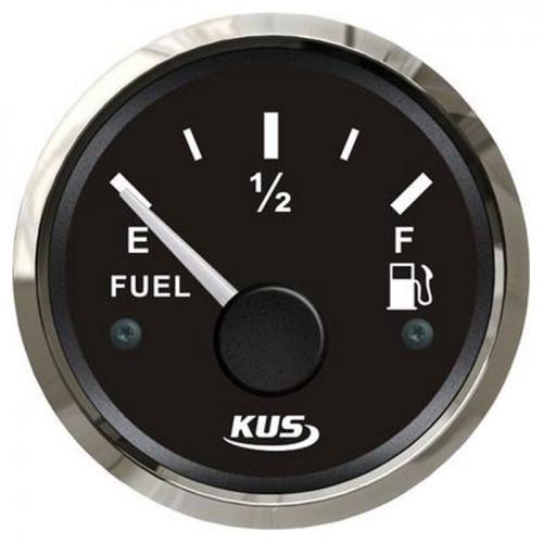 KUS Tankanzeige 12/24Volt 0-190 Ohm Tankuhr Kraftstoffanzeiger Edelstahlrand Boot schwarz