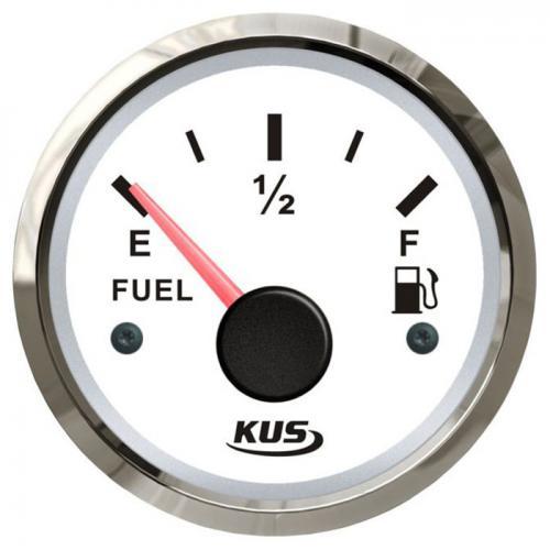 KUS Tankanzeige 12/24Volt 0-190Ohm Tankuhr Kraftstoffanzeiger Edelstahlrand Boot - weiss