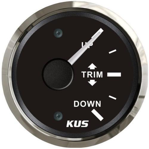 KUS Trimmanzeige Trimmarmatur 12/24Volt 160-10Ohm Edelstahl schwarz
