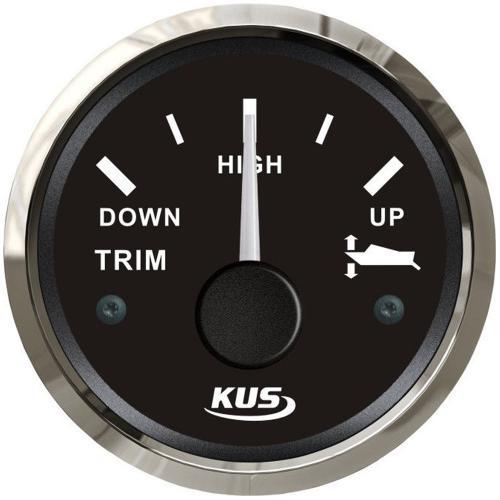 KUS Trimmarmatur Trimmanzeige 12/24Volt 0-190Ohm Edelstahl schwarz