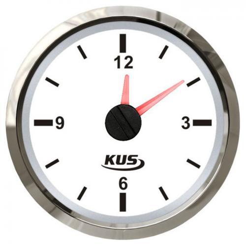 KUS Uhr analoge Anzeige 12Stunden Anzeige  Edelstahl, Boot - weiss