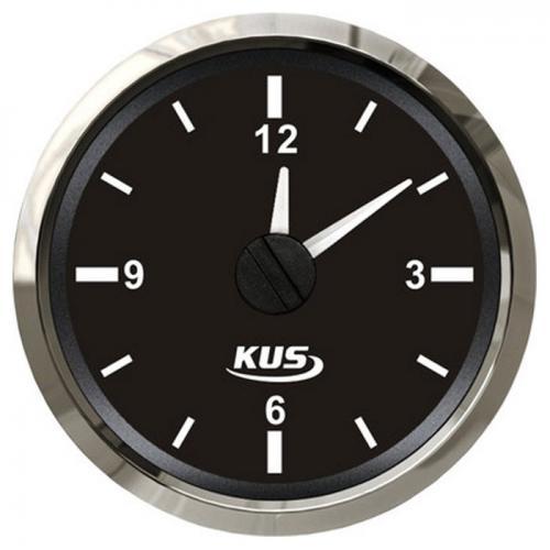 KUS Uhr analoge Anzeige 12Stunden Anzeige Edelstahl Boot - schwarz
