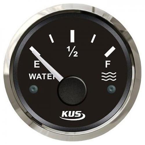 KUS Wassertankanzeige 12/24Volt Edelstahl KUS 0-190Ohm Füllstandanzeige Wasser - schwarz