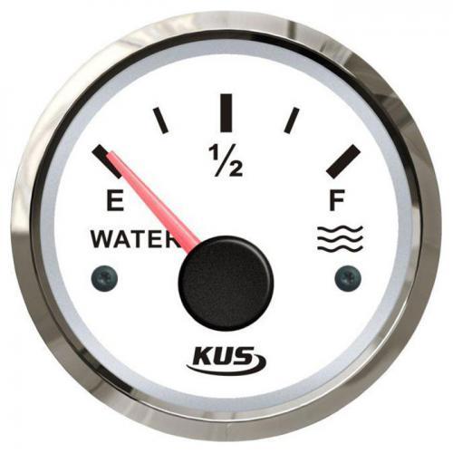 KUS Wassertankanzeige 12/24Volt Edelstahl KUS 0-190Ohm Füllstandanzeige Wasser - weiss