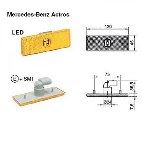 LED Seitenmarkierungsleuchte 24 V gelb Mercedes Benz 0005445211