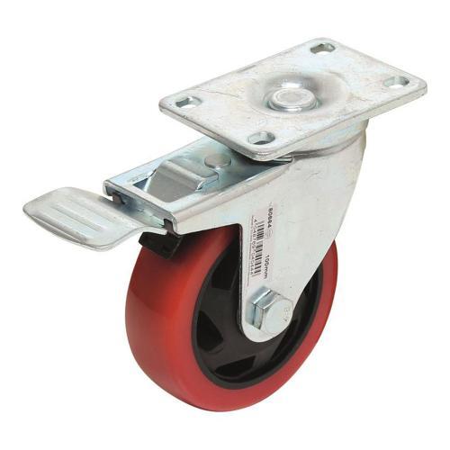 Lenkrolle mit Bremse, rot/schwarz, 100 mm