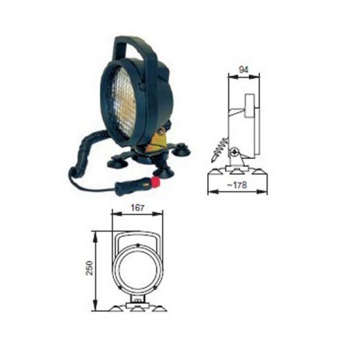 mobiler Arbeitsscheinwerfer, Durchmesser 140mm, H3, 12V, 24V, Spiralkabel, Magnetfuß