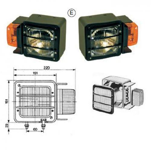 Scheinwerfer-Blinker-Einheit Radlader, Atlas, 2454966 und 2454977, E-Prüfung