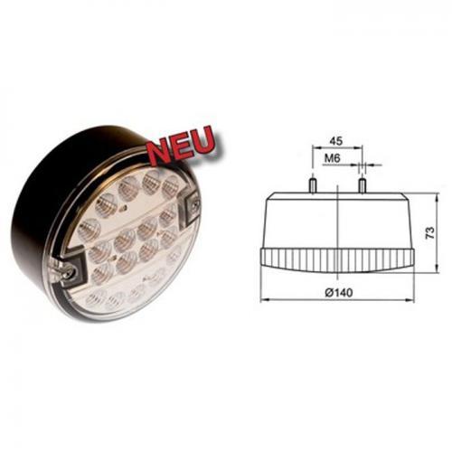 Schluß-Brems-Blinkleuchte, LED, Rücklicht, 9-33 Volt, Klarsicht