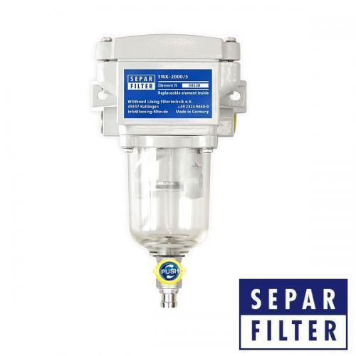 SEPAR SWK 2000/5 Wasserabscheider + Filter für leichte Dieselkraftstoffe + Heizung 24V