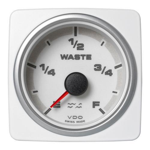 VDO-AcquaLink® Füllstandsanzeige Grauwasser E-F 52 mm 12-24 V schwarz oder weiß