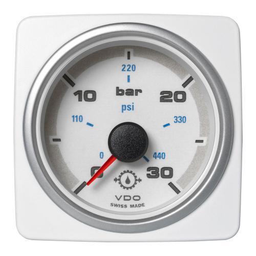 VDO-AcquaLink® Getriebeöl-Druckmanometer 52 mm 12-24 V schwarz oder weiß
