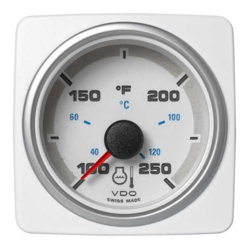 VDO-AcquaLink® Kühlwasser-Temperaturanzeiger 52 mm 12-24 V schwarz oder weiß