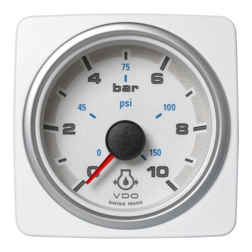 VDO-AcquaLink® Motoröl-Druckmanometer 52 mm 12-24 V schwarz oder weiß