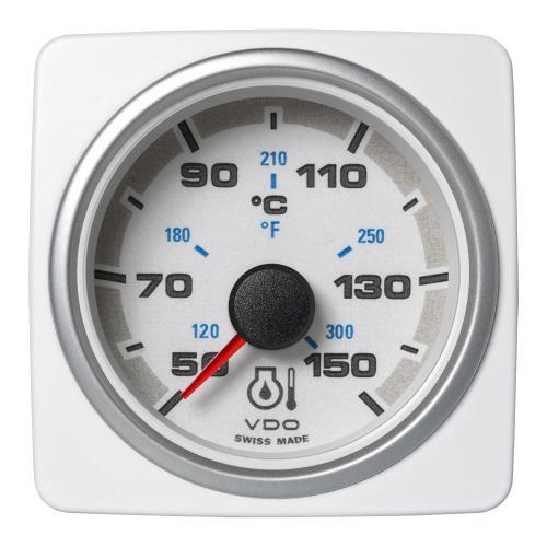 VDO-AcquaLink® Motoröl-Temperaturanzeiger 52 mm 12-24 V schwarz oder weiß